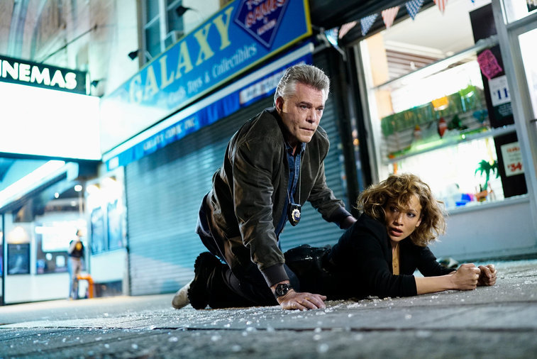 "SHADES OF BLUE -- ""Original Sin"" Episode 102 -- Pictured: (l-r)  Ray Liotta as Bill Wozniak, Jennifer Lopez as Harlee Santos --  (Photo by: Peter Kramer/NBC)"