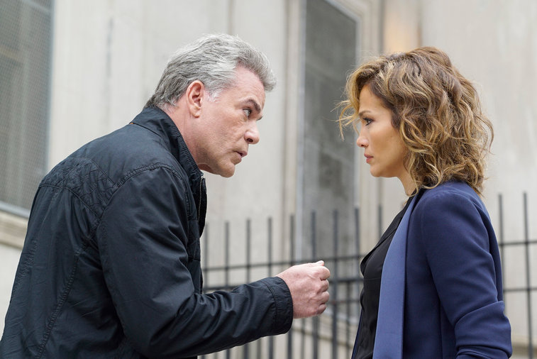"SHADES OF BLUE -- ""Pilot"" Episode 101 -- Pictured: (l-r) Ray Liotta as Bill Wozniak, Jennifer Lopez as Detective Harlee Santos -- (Photo by: Peter Kramer/NBC)"