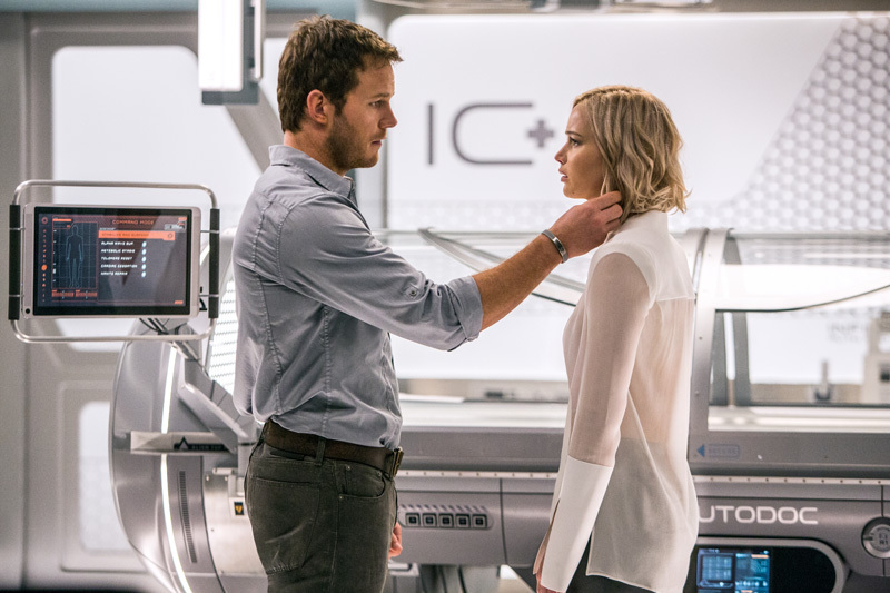 In the Infirmary, Jim (CHRIS PRATT) and Aurora (JENNIFER LAWRENCE) realize they have limited options in Columbia Pictures' PASSENGERS.