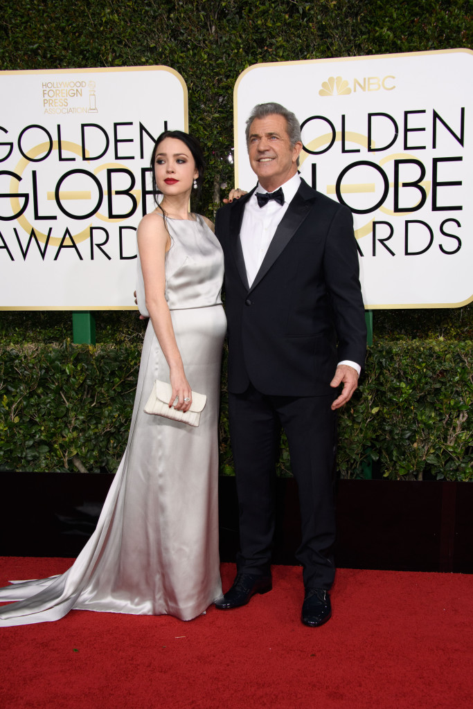 "Nominated for BEST DIRECTOR – MOTION PICTURE for ""Hacksaw Ridge,"" director Mel Gibson and Rosalind Ross attend the 74th Annual Golden Globes Awards at the Beverly Hilton in Beverly Hills, CA on Sunday, January 8, 2017."