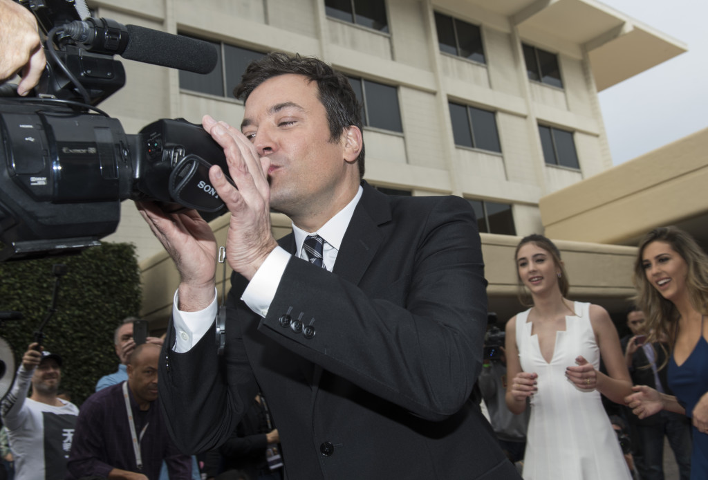 Jimmy Fallon playing around during the red carpet rollout for the upcoming 74th Annual Golden Globe Awards at the Beverly Hilton Hotel in Beverly Hills, CA. Photo: Magnus Sundholm for the HFPA.