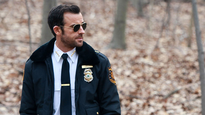 "NEW YORK, NY - APRIL 01: Justin Theroux films HBO's ""The Leftovers"" on April 1, 2014 in New York City. (Photo by Steve Sands/GC Images)"
