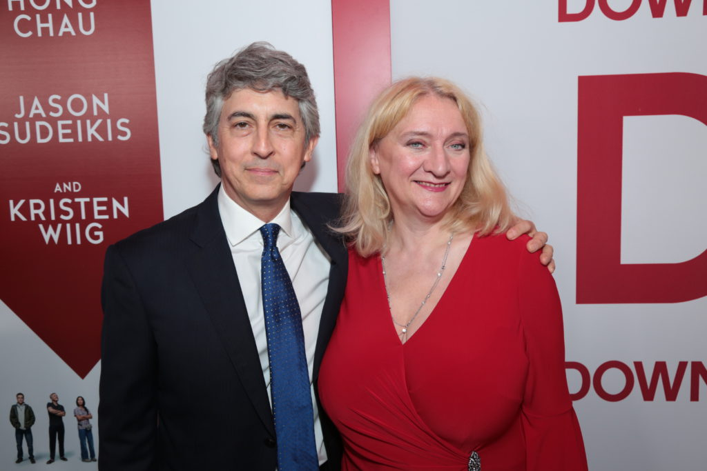 "Alexander Payne and Margareta Pettersson pose together as Paramount Pictures presents a special screening of ""Downsizing"" in Los Angeles, CA at the Regency Village Theater in Los Angeles, CA on Monday, December 18, 2017..(Photo: Alex J. Berliner/ABImages)"