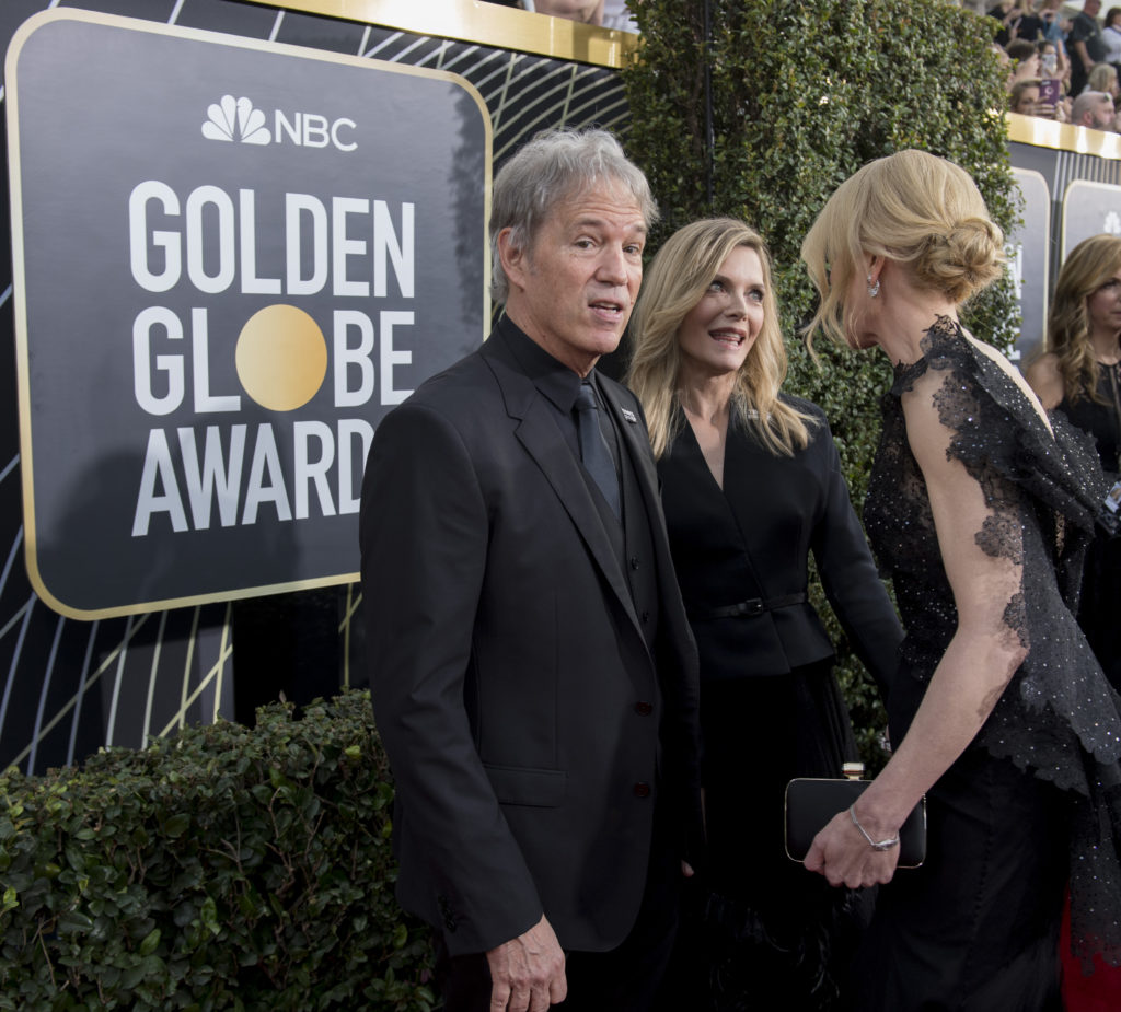 David E. Kelley and Michelle Pfeiffer at the 75th Golden Globe Awards in Beverly Hills, CA. 01-07-2018 Photo: Magnus Sundholm